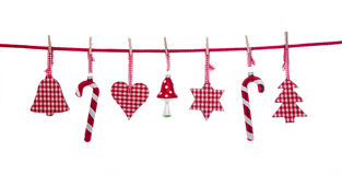 Het hangen isoleerde rode en witte geruite Kerstmisdecoratie Royalty-vrije Stock Foto's
