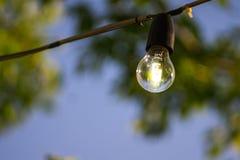 Het hangen lightbulb op een draad met blauwe hemel Royalty-vrije Stock Foto