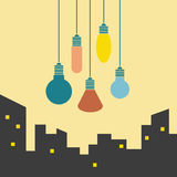 Het hangen multi-colored lichten Royalty-vrije Stock Fotografie