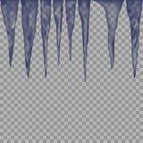 Het hangen van doorzichtige ijskegels in blauwe kleuren op transparante achtergrond royalty-vrije illustratie
