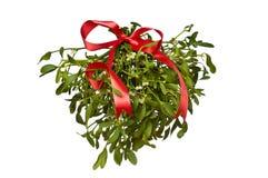 Het hangen van groene maretak met een rode boog Stock Fotografie