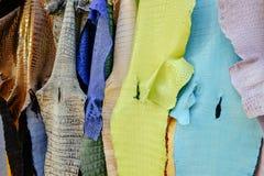 Het hangen van kleurrijk leer van buikdeel van krokodilhuid stock afbeeldingen