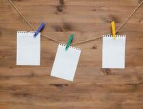 Het hangen van lege notamarkeringen met gekleurde wasknijpers Stock Foto's