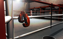 Het hangen van omhoog bokshandschoenen Royalty-vrije Stock Afbeeldingen