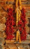 Het hangen van rode Spaanse pepers op houten muur royalty-vrije stock foto