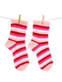 Het hangen van sokken Royalty-vrije Stock Fotografie