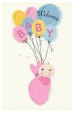 Het hangen wikkelt de aankomstkaart van het babymeisje met ballons in Royalty-vrije Stock Foto