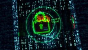 Het hangslotconcept van de Cyberveiligheid vector illustratie