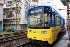 Het Hankai-Tramspoor in Osaka is affectionately genoemd geworden kin royalty-vrije stock foto