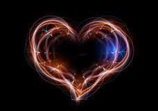 Het hart dat uit abstracte energie wordt samengesteld. Stock Foto's