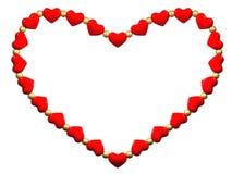 Het hart dat van kleine rode harten en parels wordt gemaakt Stock Fotografie