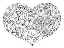 Het hart in de stijl van Zen-art. Stock Afbeeldingen