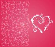 Het hart en de achtergrond van de valentijnskaart Stock Afbeeldingen