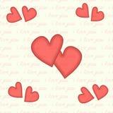 Het hart en de inschrijving naadloze I houden van u Stock Foto's