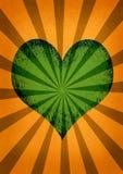 Het hart en de zonnestraal van de liefde Stock Afbeelding