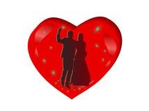 Het hart en het paarsilhouetten van het huwelijk Royalty-vrije Stock Afbeeldingen