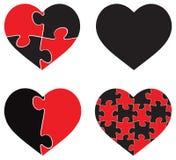 Het hart gaf illustratie van het raadsel de grafische malplaatje op witte achtergrond gestalte Stock Afbeeldingen