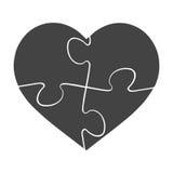 Het hart gaf illustratie van het raadsel de vector grafische die malplaatje op witte achtergrond wordt geïsoleerd gestalte Royalty-vrije Stock Foto's