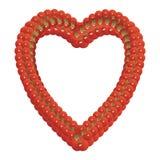 Het hart gaf kader gestalte van tomaten wordt gemaakt die Royalty-vrije Stock Foto