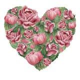 Het hart gaf vorm gestalte met roze bloeiende rozen wordt gevuld die royalty-vrije illustratie