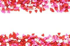 Het hart gestalte gegeven kader van de suikergoed dubbele rand Royalty-vrije Stock Afbeeldingen
