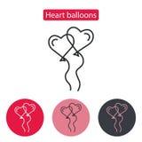 Het hart gevormde pictogram van de ballonslijn Royalty-vrije Stock Foto's