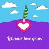 Het hart groeit van de grond met groene twee doorbladert, liet uw liefde groeien, hemel met witte wolken op achtergrond Royalty-vrije Stock Afbeeldingen