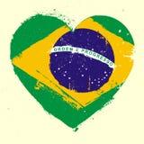 Het Hart Grunge van Brazilië Stock Afbeeldingen