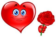 Het hart met nam toe Royalty-vrije Stock Fotografie
