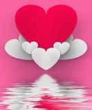 Het hart op Hart betrekt Vertoningen Romantische Hemel of in Liefde Sensat Stock Afbeeldingen