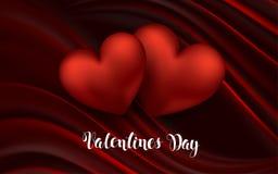 Het hart op Rode Zijde met Lichte de Dag Vectorsamenvatting van Valentine s met het Glanzen van Deeltjes ontwerpt Groetkaart Stock Foto