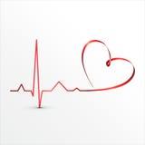 Het hart slaat cardiogrampictogram Stock Foto