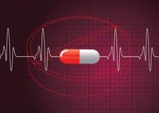 Het hart sloeg op Pillenachtergrond Stock Afbeelding