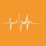 Het hart sloeg Vlakke ontwerp vectorillustratie Oranje en witte kleuren Stock Foto