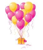 Het hart van ballons met gift Royalty-vrije Stock Fotografie