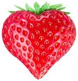 Het hart van de aardbei Geïsoleerdn op een wit Stock Foto