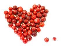 Het hart van de Amerikaanse veenbes/dauw/van de valentijnskaart voedsel Stock Afbeelding