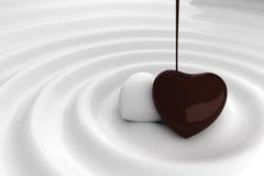 Het hart van de chocolade in hete chocolade Stock Foto's