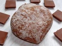 Het hart van de chocoladepeperkoek Stock Foto's