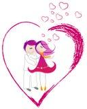 Het hart van de Dag van de leuke Valentijnskaart met jongen en meisje Royalty-vrije Stock Afbeelding