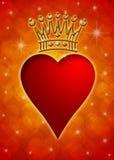 Het Hart van de Dag van de valentijnskaart met Kroon Stock Afbeelding