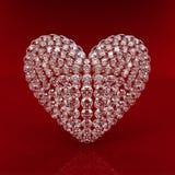 Het hart van de diamant op rode achtergrond Stock Foto's