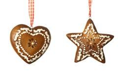 Het hart van de gember en sterdecoratie voor Kerstmis Royalty-vrije Stock Afbeelding