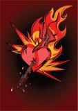 Het hart van de gitaar in vlammen Royalty-vrije Stock Foto