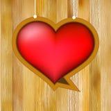 Het hart van de gloed op houten achtergrond. + EPS8 Royalty-vrije Stock Afbeeldingen