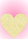 Het hart van de groetkaart met gouden harten wordt gevuld dat Stock Afbeelding