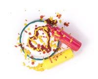 Het Hart van de ketchup en van de Mosterd Stock Foto