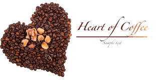 Het hart van de koffie dat op wit wordt geïsoleerdl Royalty-vrije Stock Fotografie