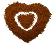 Het hart van de koffie - schrijf liefde in Stock Fotografie