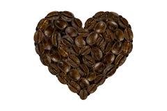 Het hart van de koffiebonen stock foto's